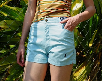 Vintage Polo High Waisted Shorts/ baby blue ralph lauren shorts, vintage high wiasted shorts  petite xxs-xs
