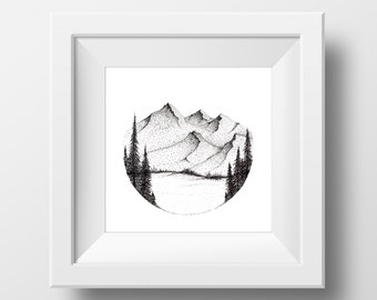 Mountain Ink Drawing, 8 x 8