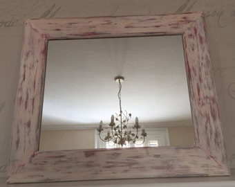 Unique, hand painted, distressed pine framed Mirror
