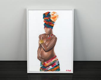 New Life, Giclee Art Print, African Print, African Painting, Fine Art Print, Art and Collectibles, UNFRAMED