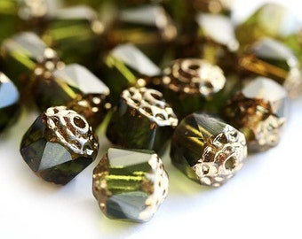 Olive green Cathedral czech glass beads with golden ends, fire polished round - 6mm - 20Pc - 0159