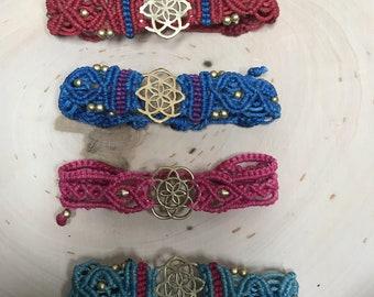 Flower Charm Beaded Macrame Bracelets