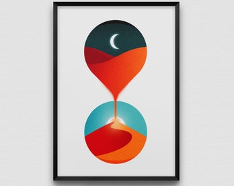 Sands of Time Art Print Poster Hourglass Desert Moon Sun Landscape Planet Sand Dusk Dawn Day Night