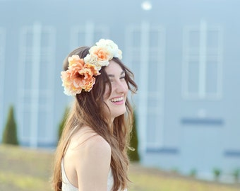 Stunning Floral Crown in Peach and White with Orange Berry Accents