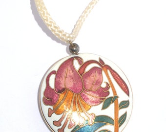 Asian Ivory Cloisonne Lentil Pendant Necklace On Ivory Cord