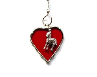 I love zebras, Stained glass heart suncatcher ornament, bright red heart, whimsical art, mini heart, zebra lovers