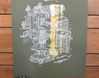 Linocut poster motor vehicles