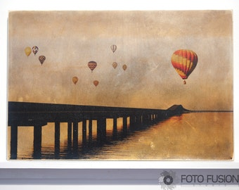 Balloons over the Gulf, Hot Air Balloon, Sunset Photo Transfer Fine Art on Wood