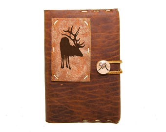 Small Leather Journal with Elk in Whiskey Ember