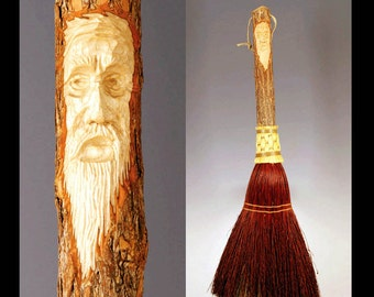 Carved Fireplace Broom in your choice of Natural, Black, Rust or Mixed Broomcorn, with Tree Spirit Wizard Carving Old Man Face