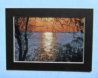 4 x 6 plage Fine Art Photography impression avec passe-partout, signé oeuvre, petit mur Art Home Decor lac Érié Kelleys Island Sunrise