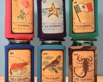 Loteria Mexican Bingo 6 Pack Drink Holders  (SET 3) - Handmade