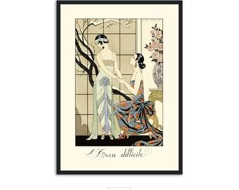 """Art Deco print vintage style fashion illustration, """"L'Aveu Difficile"""" by George Barbier, IL019."""