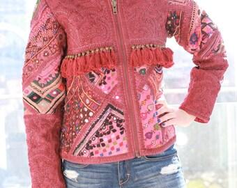 Banjara Embroidered Bomber Jacket, Boho Jacket, Embroidered Jacket, Handmade Jacket, Bohemian Jacket, Indian Embroidery Jacket