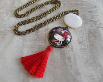 tassel necklace kokeshi japanese doll, bohemian trend