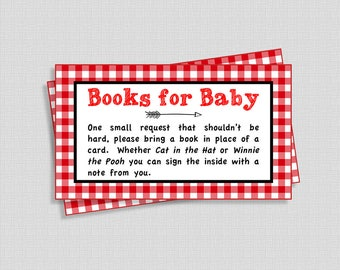 BBQ Baby Shower Book Request, Red Check Invite Insert, Red Gingham, Books for Baby, diy Printable, INSTANT DOWNLOAD