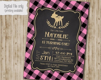 Our Little Deer Birthday Invitation, One Year, First Birthday, Baby Shower, DIY Printable, Printable, Girl, Plaid, Rustic, Gold