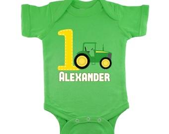 Green Tractor 1st Birthday Personalized Bodysuit or T-Shirt