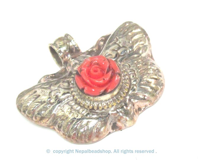 1 Pendant - Tibetan silver butterfly with salmon orange flower  pendant with reverse side floral carving from Nepal - PM601B