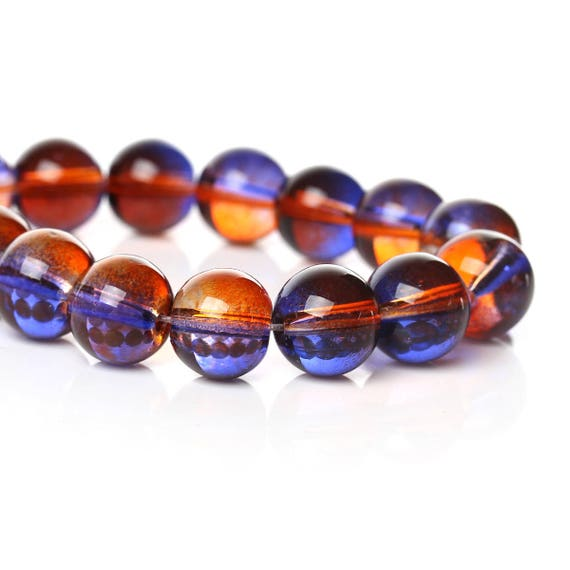 Set of 10 glass beads - blue and orange transparent - 10 mm