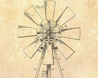 Vintage Windmill - Patent Drawing - Farmhouse Kitchen Decor - Farm Windmill - Farmhouse art - Farm Decor - Patent poster - Blueprint Art