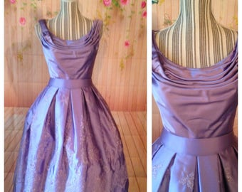 Vintage Lavender Satin Dress With Embroidered Flowers