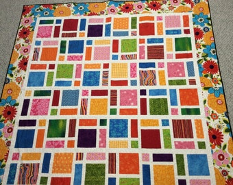 Multi-colored floral quilt