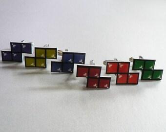 let's turn nintendo off - GREEN tetris cufflinks
