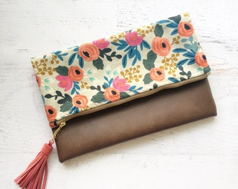 Floral Rifle Paper Co Cancas & Brown Faux Leather Foldover Clutch - Gift for her, Birthday, Anniversary, Bridesmaid