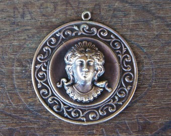 Vintage French Brass Stamping/Antique Style/Neoclassical/Woman/Bust/Button/Plaque/French Findings