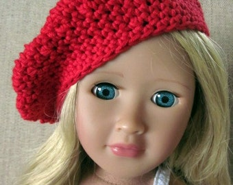 18in doll hat, red beret, hand crochet, AG doll clothes, doll accessories