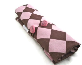 Brush roll pink and brown diamonds handmade storage for makeup brushes or crochet hooks