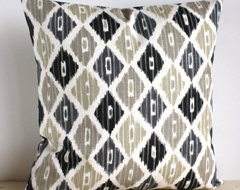 Grey and Beige Ikat Pillow Cover, 16 Inch Ikat Cushion Cover Pillow Sham - Ikat Diamond Neutral