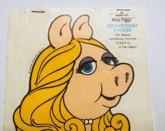 Vintage 1981 hallmark miss piggy large see through sticker from Henson associates