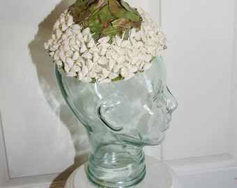 Vintage 1950's Leaf and White Flower Cone Shaped Woman's Hat
