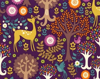 Norwegian Woods Fantasy Forest Purple by Michael Miller - Deer Trees Birds - Quilting Cotton Fabric - choose your cut