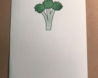 Hand Painted Broccoli Note Card