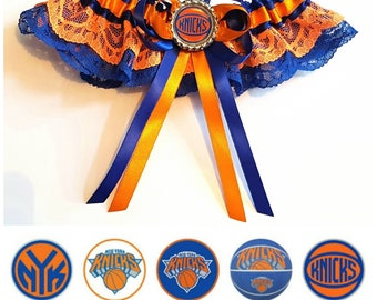 New York Knicks Satin/Satin and Lace/Garter Set-Your choice of embellishment.