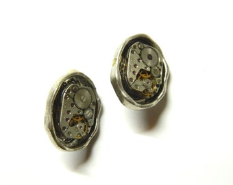 """Steampunk clip earrings """"Ellipses"""", old silver colored metal, old clockwork, handmade decorated, interesting gift for woman, birthday"""