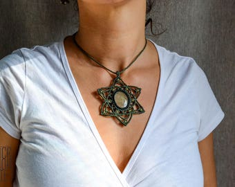 Macrame Pendant with Dendritic Opal Bohemian jewelry Micromacrame Birthstone Mandala Chrystmas gift Necklace Boho Healing stones For Her