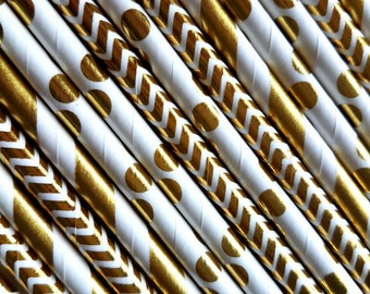 Gold straws. Party decorations. 18th birthday party. 50th birthday. 40th. 60th. 30th. 25th. Silver, black.