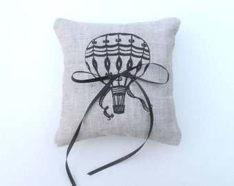 Wedding Ring Bearer Pillow, Vintage Hot Air Balloon, 5 x 5 inches ring pillow - Choose your fabric and ink color