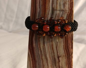 Macrame orange bone bead adjustable friendship Bracelet