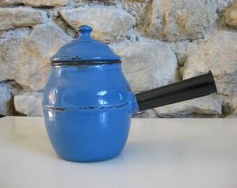 Blue enamel chocolate pot, vintage French chocolatiere
