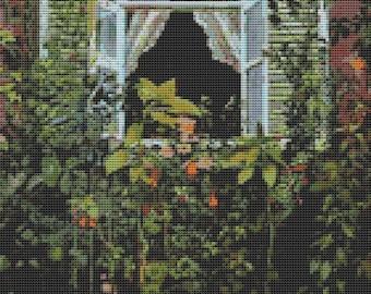 Garden Cross Stitch Chart, Window Cross Stitch Pattern PDF, Art Cross Stitch, Victor Borisov-Musatov, Embroidery Chart