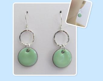 Robin's Egg Blue Circle Enamel Sterling Silver Hammered Circle Earrings