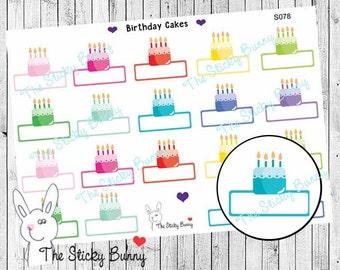 Birthday Cakes Planner Stickers for Erin Condren, Happy Planner, Kikkik, Filofax (S078)