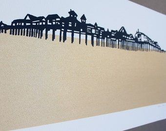 The Pier - Limited Edition Screen Print in Gold
