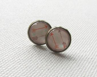Arrow Stud Earrings Bronze Round Cabochon Bezel Earrings Geometric Dainty Jewelry