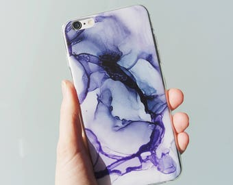 Evil Queen Purple Ink iPhone Case - Alcohol Ink Abstract Art
